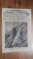 1873 Illustrazione Popolare: Vista delle Cascate del Lehmbach sul Monte Rosa