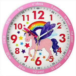 Ravel Wall Clock Unicorn/Football Design Blue / Pink For Kids Bedroom 25cm