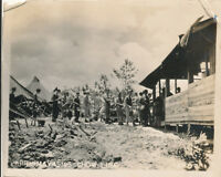 WWII 1945 US Army Okinawa Photo GI's Chow Line
