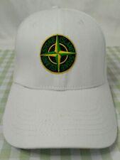 White STONE ISLAND Mens Women Baseball Cap Cotton Snapback Hat - Size Medium