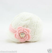 Newborn Baby Girl knit hat crochet flower gold buttons 0-3 mon whitePhoto Prop