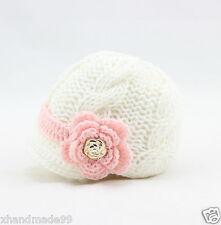 Newborn Baby Girl knit hat crochet flower gold buttons 0-3 mon whitePhoto Prop