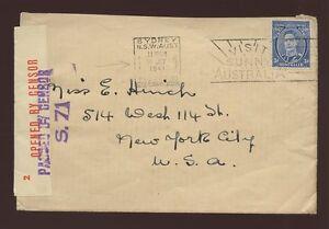 AUSTRALIA 1941 COVER OVERSEAS BOX + SUNNY SLOGAN..OPENED + PASSED CENSORS to USA
