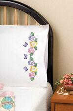 Embroidery Kit ~ Design Works Butterflies & Pansies PILLOWCASE PAIR #T232139