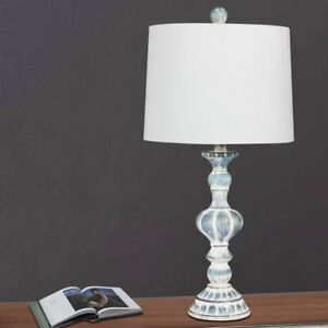 New Fangio Lighting 26.5 in. Distressed, Sculpted Candlestick Resin Table Lamp