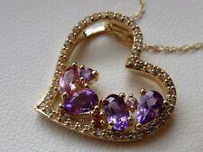 "Shades of Pink Tourmaline, Topaz & Amethyst Cascade Heart Necklace 18"" 10K Gold"