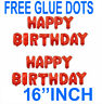 Self Inflating Happy Birthday Banner Balloon Bunting RED 16 inch Letters Foil