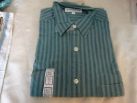 Genuine Vintage Mens M & S St Michael Green Blue Stripe Shirt Size Small