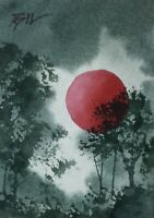 ACEO ATC original art miniature painting ' Red Balloon ' by Bill Lupton