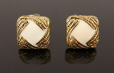 Vintage Gold Pearl White Square Woven Retro Jewellery Stud Earrings + Gift Bag