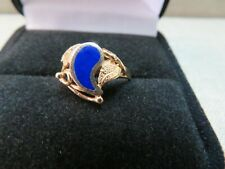Vtg 14K Solid Yellow Gold  Lapis inlay Ring w/ Leaf Vine / Size 6.5 / 2.14 Gram