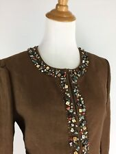 BCBG Max Azria Womens S Small Brown Multi Color Stone Embellished Linen Jacket