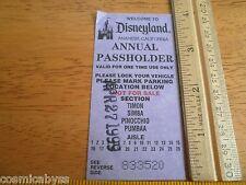 Disneyland Annual Passholder parking coupon USED card 1999