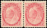 1899 Mint NG Canada F+ Pair Scott #77 2c Queen Victoria Numeral Issue Stamps
