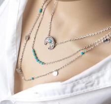 Choker Necklace Silver Coloured Multi 3 Layer Moon Bead Chain Drop Women Woman