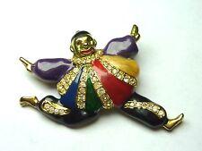 Vintage Clown Multicolor Enamel Crystals Brooch Pin