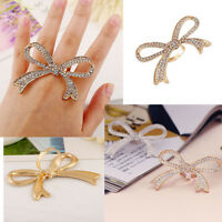 Fashion Crystal Ring Big Finger Ring Adjustable Women Bowknot Design