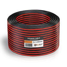 50m Zwillingslitze 2x 1,5mm² Lautsprecherkabel Boxenkabel rot/schwarz 2-adrig