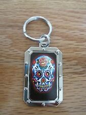 Key Chain SKULL WITH FLOWERS NOS metal #2