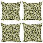 Ambesonne Green Print Cushion Cover Set of 4 for Couch and Bed in 4 Sizes