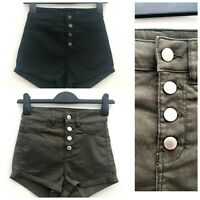 Ex High Street H&M High Waisted Button Fly Shorts Black or Khaki Sizes 4-14