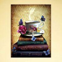 Coffee Books 5D Full Diamond DIY Painting Embroidery Cross Stitch Home Decor