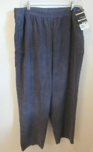 NWT Women's Size XL Basic Editions Pull On Pants DK Gray Elastic Waist Relaxed