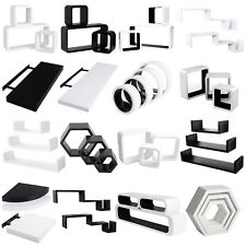 Floating Wall Shelves Board/Cube/S Shape/Round/Oval Wall Shelf White/Black u118