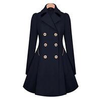 Womens Ladies Lapel Stylish Long Parka Coat Winter Trench Outwear Jacket UK 8-16