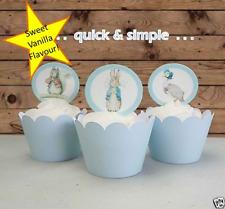 Peter Rabbit Boy Baby Shower circle EDIBLE wafer cupcake cake toppers