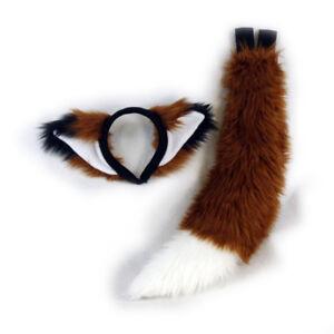 PAWSTAR Furry Fox Ears & Tail Set - Costume plush Brown Rust White [RU/WH]4007