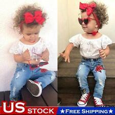 Toddler Baby Girl Summer Cotton Lace Shirt Tops+Denim Pants Jean Set Kid Clothes