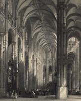 Church of St Eustache Renaissance Interior Paris - c.1855-60 Engraved Old Print
