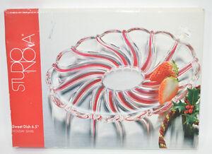 "Studio Nova Sweet Candy Nut Dish Holiday Swirl Oval 6.5"" Glass w/Red Swirls"