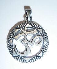 CIONDOLO catena OM simbolo in puro argento 925 talismano amuleto Aum caratteri ss102