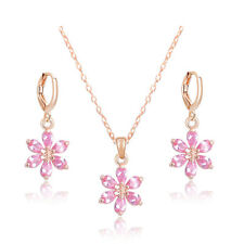 Shiny Cubic Zirconia Flower Necklace Earrings 18K Gold Plated Bridal Jewelry Set