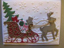 Santa's Helper Xmas Reindeer Sleigh Handmade Card Kit w/some stampin up 4