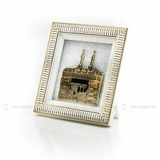 3D Kaaba View White Gold Islamic Hanging / Stand Frame Turkish 18x20cm Eid Gift