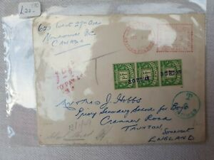 1948 Canada to Taunton Cover, Postage Due 'School Closed' Lots of Postmarks. £22