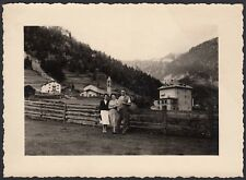 YZ0381 Albergo in villaggio nelle Dolomiti - Fotografia d'epoca - 1950 old photo
