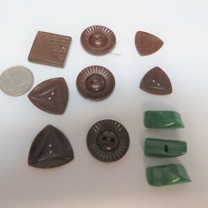Vintage Bakelite Button Lot #4  Greens and Browns