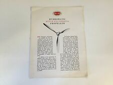 Vtg Hamilton Standard Hydromatic Propeller Instruction Fold Out Quick Feathering