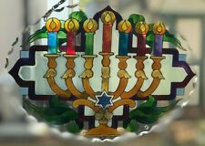 Joan Baker Jewish Holiday art glass Suncatcher-SFS1034-Menorah Happy Hanukkah