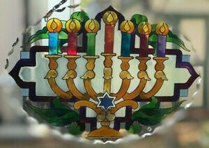 Joan Baker Jewish Holiday art glass Suncatcher-SFS1034-Menorah Happy Hanukkah
