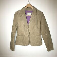 Wilsons Leather Maxima Suede Leather Blazer Sz Large Lined Tan Long Sleeve Darts