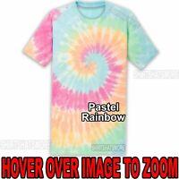 Mens Tie Dye T-Shirt Pastel Rainbow Spiral Design S-XL 2XL 3XL 4XL Tye Died NEW