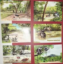6 difference nationl park mini souvenir sheet sri lanka s/s animals ,birds
