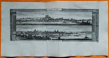 VAN DER AA Gravure originale c1725 VUES DE SAUMUR ET TOURS Anjou Touraine Loire