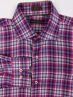 PETER MILLAR Men's Medium Purple Pink Plaid Long Sleeve Button Front Dress Shirt