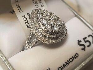 10k White Gold & Diamond Cluster Teardrop Ring ~ 1.00 TCW